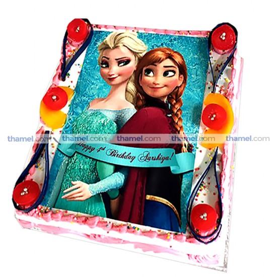 Anna & Elsa Photo Printed Cake - 2 lbs.