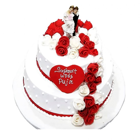 Wedding Special Cake with Couple Cake Topper