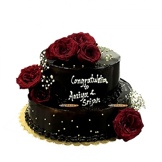 Two Tier Chocolate Wedding Cake with Fresh Roses