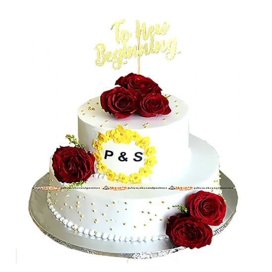 Two tiered Wedding Cake with Elegant Cake Topper & Fresh Roses