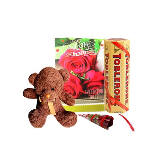 Chocolate& Teddy withCard& Rose