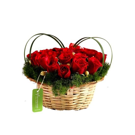 Elegant Basket of Red Roses