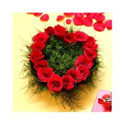 Heart Shaped Roses Basket Arrangement