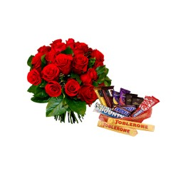 Roses Bunch with Chocolates Basket