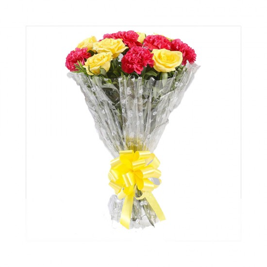 Pink Carnations & Yellow Roses Bouquet