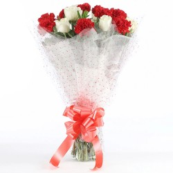Bunch Of Red Carnation& White Roses