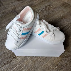 White Shoes with Peach &Blue Stripes