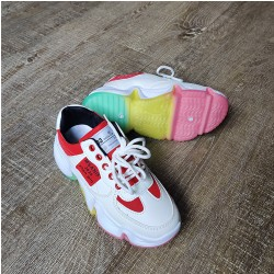 White & Red Sneakers with Tricolor Sole