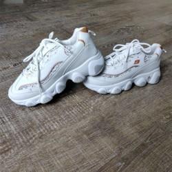 White Sneaker with Glitter & Orange Heel Tab