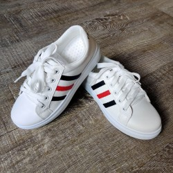 White Shoes with Black & Red stripes
