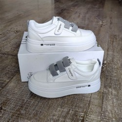 White Sneaker with Grey Straps