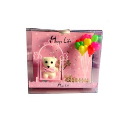 Pink Light Box with Bear & Balloons