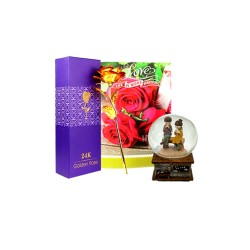 Gold Rose with Card & Snow Globe