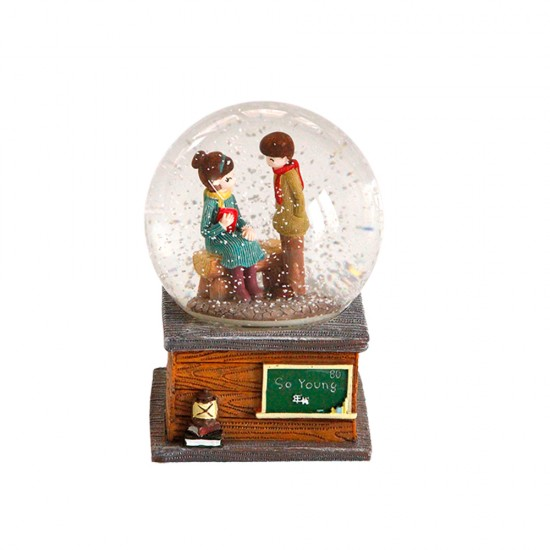 Young Couple Musical Snow Globe