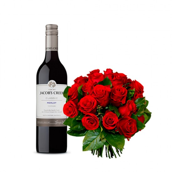 Rose Bouquet with Wine