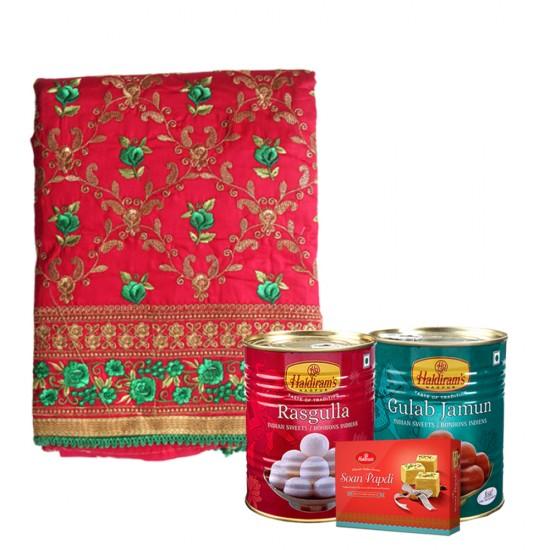 Haldiram's Mithais with Red Pulkari Cotton Kurta